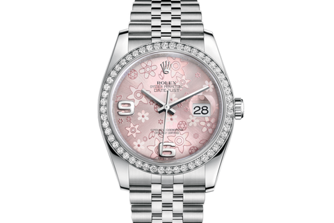Rolex Datejust 36 Stainless Steel Diamond Bezel on Jubilee Bracelet - Pink Floral Dial