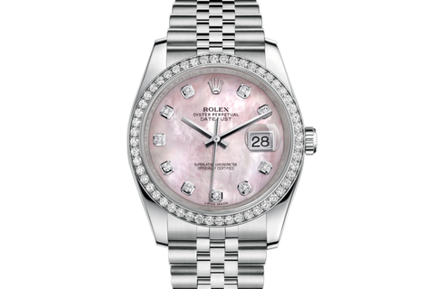 Rolex Datejust 36 Stainless Steel Diamond Bezel on Jubilee Bracelet - Pink Pearl Diamond Dial