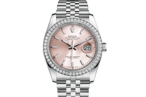 Rolex Datejust 36 Stainless Steel Diamond Bezel on Jubilee Bracelet - Pink Stick Dial