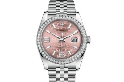 Rolex Datejust 36 Stainless Steel Diamond Bezel on Jubilee Bracelet - Pink Wave Diamond Dial