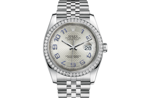 Rolex Datejust 36 Stainless Steel Diamond Bezel on Jubilee Bracelet - Silver Diagonal Dial