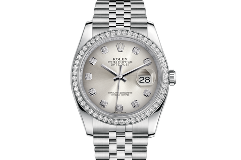 Rolex Datejust 36 Stainless Steel Diamond Bezel on Jubilee Bracelet - Silver Diamond Dial