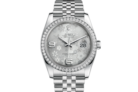 Rolex Datejust 36 Stainless Steel Diamond Bezel on Jubilee Bracelet - Silver Floral Dial
