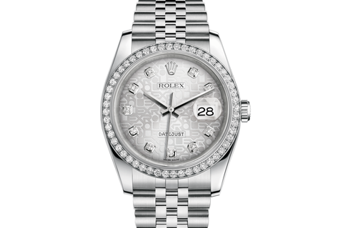 Rolex Datejust 36 Stainless Steel Diamond Bezel on Jubilee Bracelet - Silver Jubilee Diamond Dial