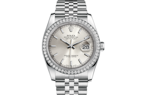 Rolex Datejust 36 Stainless Steel Diamond Bezel on Jubilee Bracelet - Silver Stick Dial