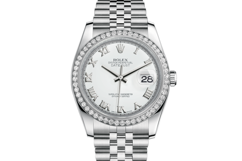 Rolex Datejust 36 Stainless Steel Diamond Bezel on Jubilee Bracelet - White Roman Dial
