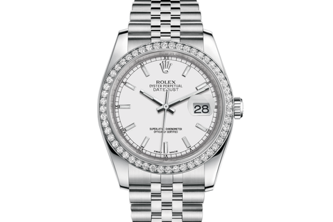 Rolex Datejust 36 Stainless Steel Diamond Bezel on Jubilee Bracelet - White Stick Dial