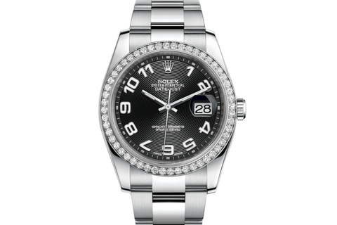 Rolex Datejust 36 Stainless Steel Diamond Bezel on Oyster Bracelet - Black Dial