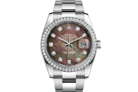 Rolex Datejust 36 Stainless Steel Diamond Bezel on Oyster Bracelet - Black Pearl Diamond Dial