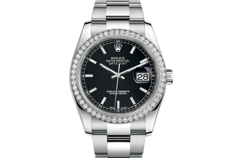 Rolex Datejust 36 Stainless Steel Diamond Bezel on Oyster Bracelet - Black Stick Dial