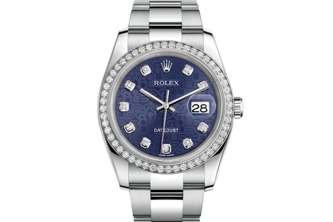 Rolex Datejust 36 Stainless Steel Diamond Bezel on Oyster Bracelet - Blue Jubilee Diamond Dial