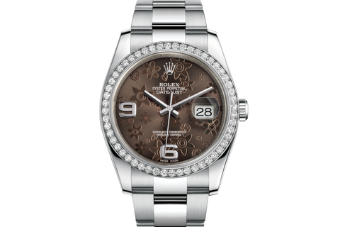 Rolex Datejust 36 Stainless Steel Diamond Bezel on Oyster Bracelet - Brown Floral Dial