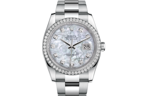 Rolex Datejust 36 Stainless Steel Diamond Bezel on Oyster Bracelet - Pearl Diamond Dial