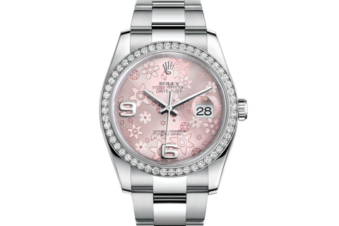 Rolex Datejust 36 Stainless Steel Diamond Bezel on Oyster Bracelet - Pink Floral Dial