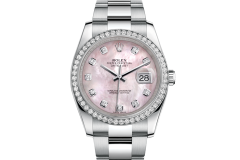 Rolex Datejust 36 Stainless Steel Diamond Bezel on Oyster Bracelet - Pink Pearl Diamond Dial