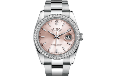 Rolex Datejust 36 Stainless Steel Diamond Bezel on Oyster Bracelet - Pink Stick Dial