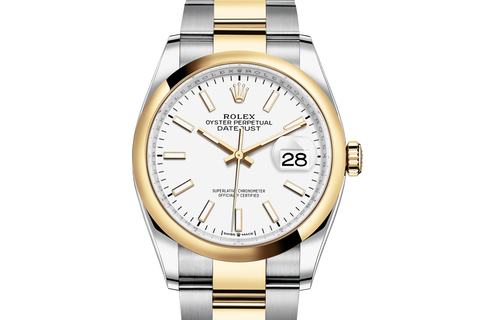 Rolex Datejust 36 Stainless Steel & 18k Yellow Gold Smooth Bezel on Oyster Bracelet - White Stick Dial