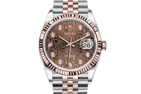Rolex Datejust 36 Stainless Steel & 18k Rose Gold Fluted Bezel on Jubilee Bracelet - Chocolate Jubilee Diamond Dial