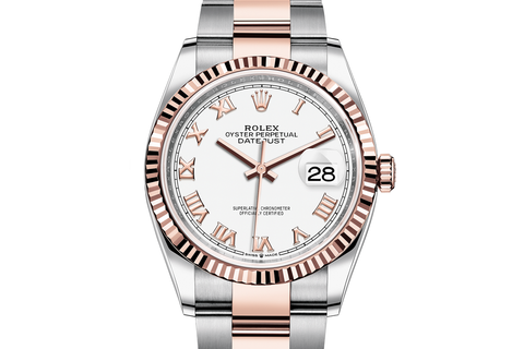 Rolex Datejust 36 Stainless Steel & 18k Rose Gold Fluted Bezel on Oyster Bracelet - White Roman Dial