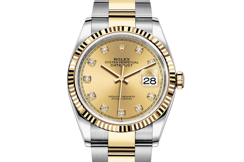 Rolex Datejust 36 Stainless Steel & 18k Yellow Gold Fluted Bezel on Oyster Bracelet - Gold Diamond Dial