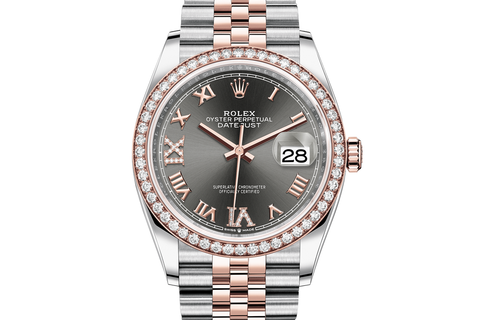 Rolex Datejust 36 Stainless Steel & 18k Rose Gold Diamond Bezel on Jubilee Bracelet - Rhodium Roman Dial
