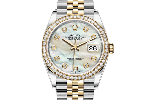 Rolex Datejust 36 Stainless Steel & 18k Yellow Gold Diamond Bezel on Jubilee Bracelet - Pearl Diamond Dial
