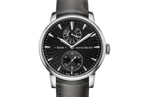 Arnold & Son DSTB - 18k White Gold on Black Leather - Blue Skeleton Dial