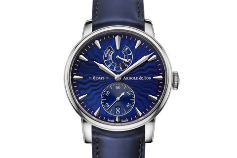 Arnold & Son Eight-Day Royal Navy - Stainless Steel on Blue Leather - Blue Dial