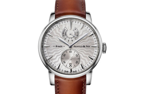 Arnold & Son Eight-Day Royal Navy - Stainless Steel on Brown Leather - Silver Dial