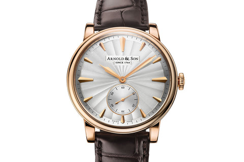 Arnold & Son HMS1 - 18k Rose Gold on Brown Leather - Silver Guilloché Dial