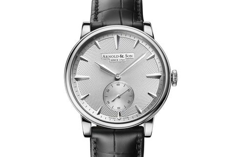 Arnold & Son HMS1 - 18k White Gold on Black Leather - Silver Guilloché Dial