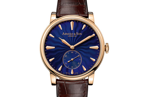 Arnold & Son HMS1 Royal Blue - 18k Rose Gold on Brown Leather - Blue Dial