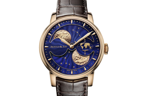 Arnold & Son HM Double Hemisphere Perpetual Moon - 18k Rose Gold on Brown Leather - Blue Dial