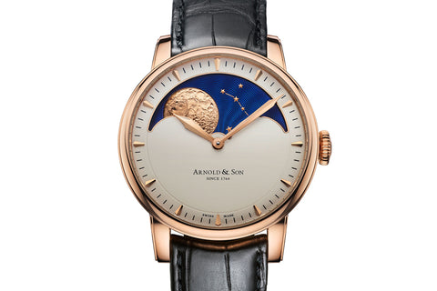 Arnold & Son HM Perpetual Moon - 18k Rose Gold on Black Leather - Cream Dial