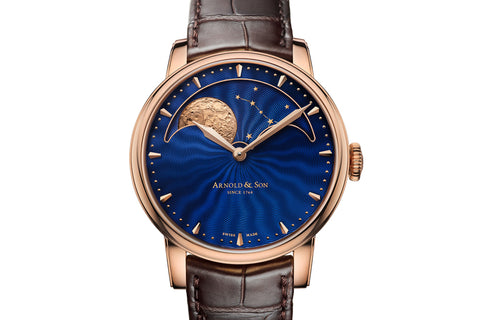 Arnold & Son HM Perpetual Moon - 18k Rose Gold on Brown Leather - Blue Dial