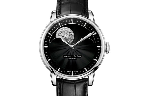 Arnold & Son HM Perpetual Moon - Stainless Steel on Black Leather - Black Dial