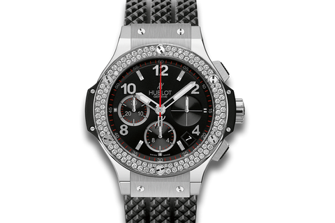 Hublot Big Bang 41mm Steel Diamonds - Stainless Steel on Black Structured Rubber w/ Diamond Bezel