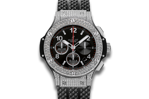 Hublot Big Bang 41mm Steel Pavé - Stainless Steel & Diamond on Black Structured Rubber