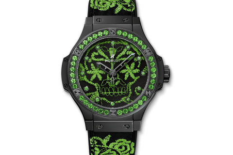 Hublot Big Bang Broderie Sugar Skull Fluo Malachik Green - Ceramic on Embroidered Rubber w/ Sapphire Bezel