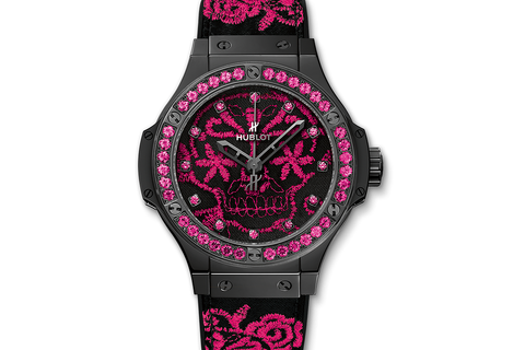 Hublot Big Bang Broderie Sugar Skull Fluo Hot Pink - Ceramic on Embroidered Rubber w/ Sapphire Bezel