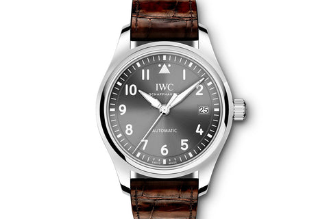 IWC Pilot's Watch Automatic 36 - Stainless Steel on Brown Leather - Grey Dial