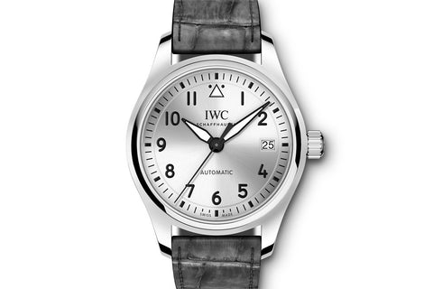 IWC Pilot's Watch Automatic 36 - Stainless Steel on Grey Leather - Silver Dial
