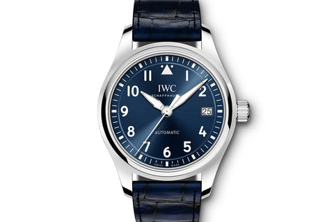 IWC Pilot's Watch Automatic 36 - Stainless Steel on Blue Leather - Blue Dial