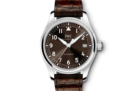 IWC Big Pilot's Watch Automatic 36 - Stainless Steel on Brown Leather - Brown Dial