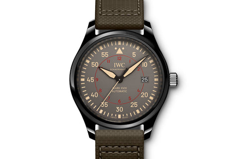 IWC Pilot's Watch Mark XVIII Top Gun Miramar - Ceramic on Green Leather - Grey Dial