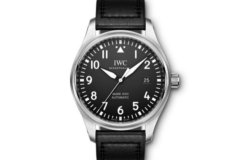 IWC Pilot's Watch Mark XVIII - Stainless Steel on Black Leather - Black Dial