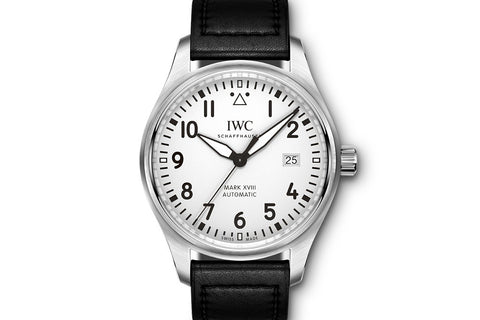 IWC Pilot's Watch Mark XVIII - Stainless Steel on Black Leather - White Dial