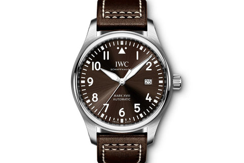 "IWC Pilot's Watch Mark XVIII ""Antoine de Saint Exupery"" Edition - Stainless Steel on Brown Leather - Brown Dial"