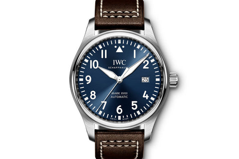 "IWC Pilot's Watch Mark XVIII ""Le Petit Prince"" Edition - Stainless Steel on Brown Leather - Blue Dial"