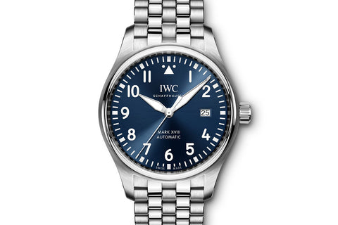 "IWC Pilot's Watch Mark XVIII ""Le Petit Prince"" Edition - Stainless Steel on Bracelet - Blue Dial"